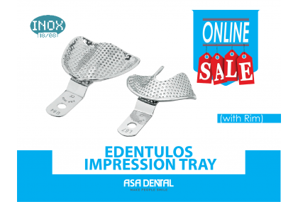 S/Steel Edentulos Impression Tray, with Rim